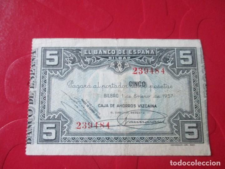 BANCO DE ESPAÑA EN BILBAO. BILLETE DE 5 PESETAS 1937 (Numismática - Notafilia - Billetes Locales)