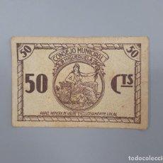 Billetes locales: BILLETE DE 50 CENTIMOS DEL CONSEJO MUNICIPAL DE HIGUERUELA ALBACETE GUERRA CIVIL. Lote 155606946