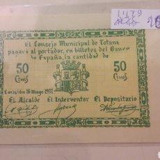 Billetes locales: TOTANA 1937 50 CTMOS CONSEJO MUNICIPAL. Lote 155762381
