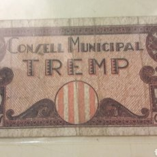 Billetes locales: CONSELL MUNICIPAL TREMP 50 CTMOS 1937. Lote 155763872