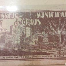 Billetes locales: 1937 CONSEJO MUNICIPAL GRAUS. Lote 155767118