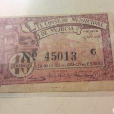Billetes locales: MURCIA 1937 REPUBLICA ESPAÑOLA 10 CENTIMOS. Lote 155767993