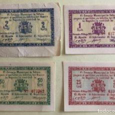 Billetes locales: TOTANA - MURCIA- GUERRA CIVIL- 4 BILLETES- SERIE COMPLETA - MAYO 1.937. Lote 156122146
