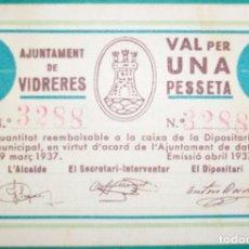 Billetes locales: CATALUÑA/CATALUNYA. 1 PESETA. AJUNTAMENT DE VIDRERES (GIRONA). EBC. ABRIL 1937. Lote 156997482