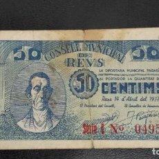 Billetes locales: BILLETE LOCAL 50 CÉNTIMOS AYUNTAMIENTO DE REUS. Lote 157923238