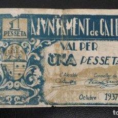 Billetes locales: BILLETE LOCAL 1 PESETA AYUNTAMIENTO DE CALELLA. Lote 157924526