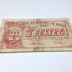 Billetes locales: BILLETE LOCAL AJUNTAMENT DE BARONIA DE RIALB - LERIDA - 1 PESETA - OCTUBRE1937. Lote 157937230