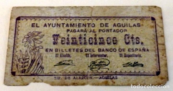 BILLETE DE 25 CENTIMOS DEL AYUNTAMIENTO DE AGUILAS DEL AÑO 1937 (Numismática - Notafilia - Billetes Locales)