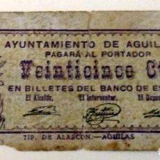 Billetes locales: BILLETE DE 25 CENTIMOS DEL AYUNTAMIENTO DE AGUILAS DEL AÑO 1937. Lote 158195786