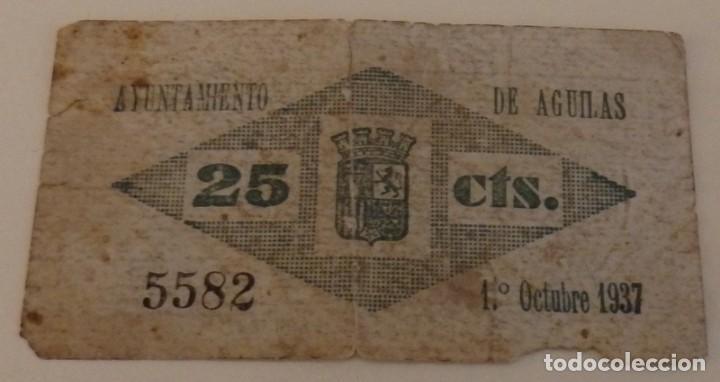Billetes locales: BILLETE DE 25 CENTIMOS DEL AYUNTAMIENTO DE AGUILAS DEL AÑO 1937 - Foto 2 - 158195786