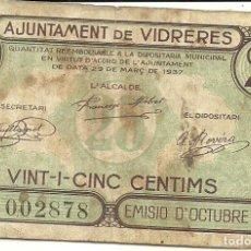 Billetes locales: (BP-10)BILLETE AJUNTAMENT DE VIDRERES 25 CTS.GUERRA CIVIL. Lote 158673762