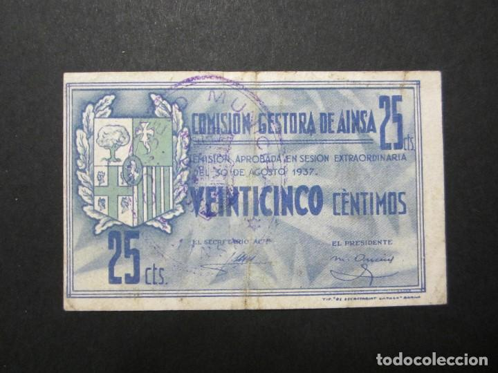 25 CÉNTIMOS DE AINSA (HUESCA) PRECIOSO (Numismática - Notafilia - Billetes Locales)