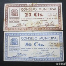 Billetes locales: 25 Y 50 CÉNTIMOS DE FONZ (HUESCA). Lote 159133350