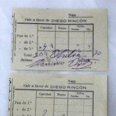 Billetes locales: 2 VALE DE PAN A FAVOR DE DIEGO RINCON - BELMEZ ( CÓRDOBA ).1930. Lote 159647022