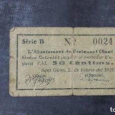 Billetes locales: BILLETE LOCAL 50 CÉNTIMOS AYUNTAMIENTO DE FREIXANET. Lote 160492998