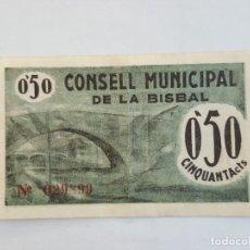 Billetes locales: F 1718 BILLETE CONSEJO MUNICIPAL DE LA BISBAL T-536. Lote 161470566
