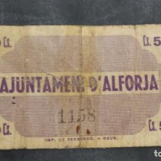 Billetes locales: BILLETE LOCAL 50 CÉNTIMOS AYUNTAMIENTO DE ALFORJA. Lote 161677878