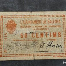 Billetes locales: BILLETE LOCAL 50 CÉNTIMOS AYUNTAMIENTO DE BALENYA. Lote 162031718