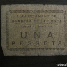 Billetes locales: BARBERA DE LA CONCA-1 PESETA-BILLETE LOCAL-VER FOTOS-(V-16.707). Lote 162060534