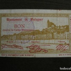 Billetes locales: BALAGUER-1 PESETA-BILLETE LOCAL-VER FOTOS-(V-16.713). Lote 162062830