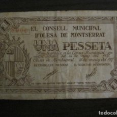Billetes locales: OLESA DE MONTSERRAT-1 PESETA-BILLETE LOCAL-VER FOTOS-(V-16.718). Lote 162065130