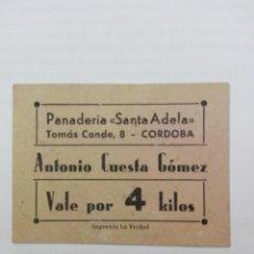 Billetes locales: VALE POR 4 KILOS. PANADERIA ¨´SANTA ADELA ´ ANTONIO CUESTA GOMEZ.. Lote 162703502