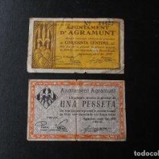 Billetes locales: BILLETES LOCALES AGRAMUNT 1937 SEGUNDA REPUBLICA. Lote 162819865