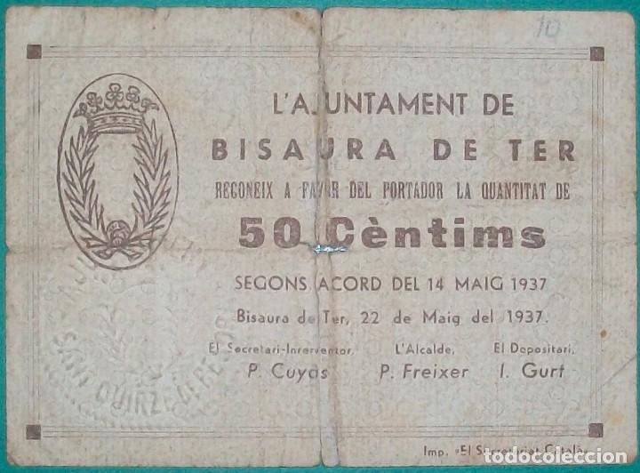 CATALUÑA/CATALUNYA. BISAURA DE TER- SAN QUIRICO DE BESORA (BARCELONA). 50 CÉNTIMOS (Numismática - Notafilia - Billetes Locales)