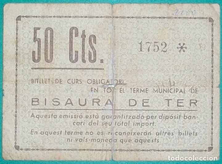 Billetes locales: CATALUÑA/CATALUNYA. Bisaura de Ter- San Quirico de Besora (Barcelona). 50 Céntimos - Foto 2 - 163900782