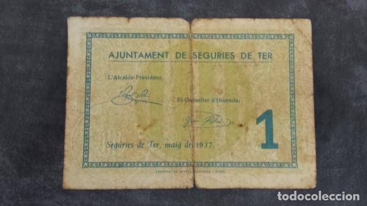BILLETE LOCAL 1 PESETA AYUNTAMIENTO DE SEGURIES DE TER (Numismática - Notafilia - Billetes Locales)