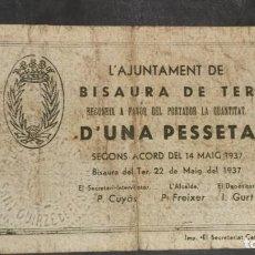 Billetes locales: BILLETE LOCAL 1 PESETA AYUNTAMIENTO DE BISAURA DE TER. Lote 164594286