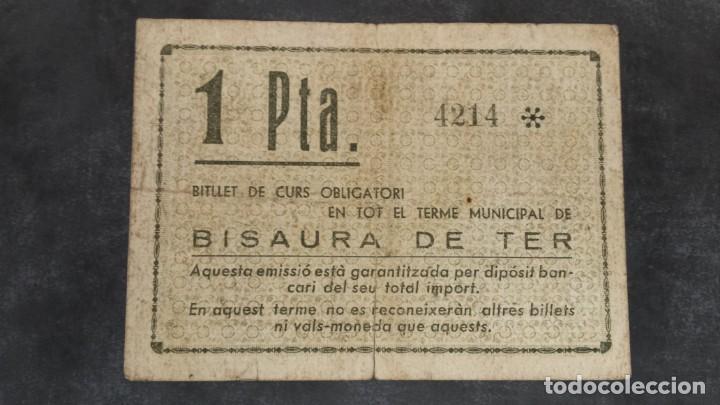 Billetes locales: Billete local 1 peseta Ayuntamiento de BISAURA DE TER - Foto 2 - 164594286