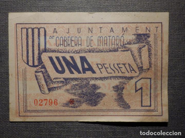 BILLETE LOCAL - AJUNTAMENT DE CABRERA DE MATARÓ - UNA PESETA (Numismática - Notafilia - Billetes Locales)