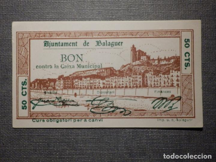 BILLETE LOCAL GUERRA CIVIL - AJUNTAMENT DE BALAGUER - 50 CÉNTIMS - 1937 (Numismática - Notafilia - Billetes Locales)