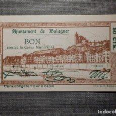 Billetes locales: BILLETE LOCAL GUERRA CIVIL - AJUNTAMENT DE BALAGUER - 50 CÉNTIMS - 1937. Lote 164644770