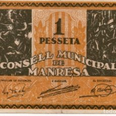 Billetes locales: 1 PESETA AJUNTAMENT DE MANRESA SERIE B. Lote 164750886