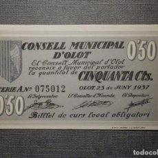 Billetes locales: BILLETE LOCAL GUERRA CIVIL - CONSELL MUNICIPAL DE OLOT - 0,50 CÉNTIMS - CINQUANTA CTS - 1937. Lote 164763558