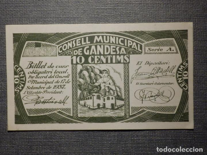 BILLETE LOCAL GUERRA CIVIL - CONSELL MUNICIPAL DE GANDESA - 10 CÉNTIMS - CTS - 1937 (Numismática - Notafilia - Billetes Locales)