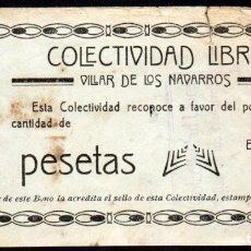 Billetes locales: VILLAR DE LOS NAVARROS (ZARAGOZA) - 2 PESETAS 1937 - COLECTIVIDAD LIBRE - MUY RARO. Lote 165667154