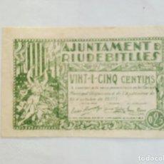 Billetes locales: F1793 BILLETE AJUNTAMENT DE RIUDEBITLLES (SANT PERE DE RIU) 25 CENTIMOS T2491. Lote 165792246
