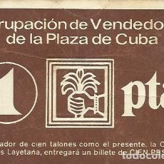 Billetes locales: PAPEL MONEDA O TALÓN DE 1 PESETA. CAJA AHORROS LAYETANA. PLAZA DE CUBA. MATARÓ. 1979.. Lote 165840902