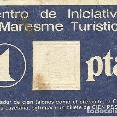 Billetes locales: PAPEL MONEDA O TALÓN DE 1 PESETA. CAJA AHORROS LAYETANA. OFICINA DE CALELLA. 1979.. Lote 165841190