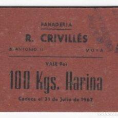 Billetes locales: PANADERÍA R. CRIVILLÉS / VALE POR 100 KGS. HARINA - CADUCA EL 31 DE JULIO DE 1967. Lote 166154130