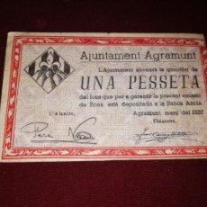 Billetes locales: AGRAMUNT. PESSETA DE 1937. PESETA. Lote 166451646