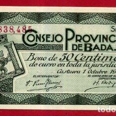 Billets locaux: BILLETE LOCAL , GUERRA CIVIL, 50 CENTIMOS DE BADAJOZ , 1937 , NULO SOLO PARA COLECCIONISTAS. Lote 167030692