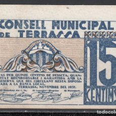 Billetes locales: * CONSELL MUNICIPAL DE TARRASA * 15 CTS. . Lote 167590224