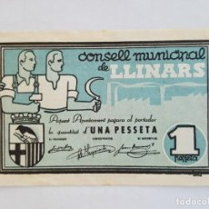 Billetes locales: F 1773 BILLETE CONSELL MUNICIPAL DE LLINARS 1 PESETA T-1546. Lote 167598152