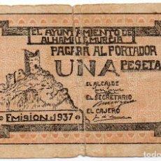 Billetes locales: AYUNTAMIENTO ALHAMA DE MURCIA. 1 PESETA. NUMERACIÓN AZUL. 1937. Lote 167904236