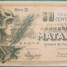 Billetes locales: CATALUÑA/CATALUNYA. 50 CÉNTIMOS. AJUNTAMENT DE MATARÓ (BARCELONA). Lote 169415200