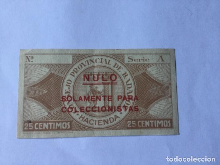 Billetes locales: CONSEJO PROVINCIAL DE BADAJOZ BONO DE 25 CTOS - Foto 2 - 170969920